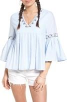 Moon River Women's Bell Sleeve Babydoll Top
