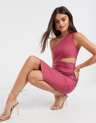 Vesper one shoulder midi dress with cut out in rose