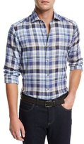 Ermenegildo Zegna Plaid Linen Sport Shirt, Medium Blue Check