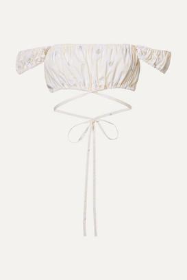 Solid & Striped Peasant Cropped Floral-print Cotton-poplin Top - Ecru