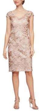 Alex Evenings Sequinned Lace Sheath Dress