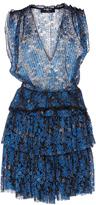 Paule Ka Lurex Floral Lace Tiered Mini Dress