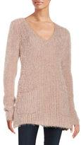 BB Dakota Patch Pocket V-Neck Tunic Sweater
