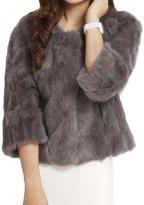 Helan Apparel Helan Women's Short Real Rabbit Fur Coat US