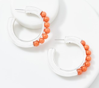 Simon Sebbag Sterling Silver Beaded Gemstone Hoop Earrings