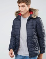 Jack and Jones Padded Jacket with Faux Fur Hood