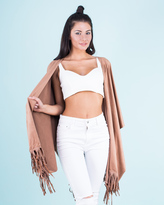 Missy Empire Esther Tan Suede Tassel Cape