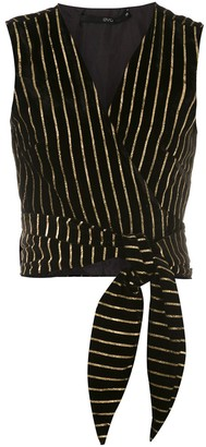Eva Tie-Up Gold Striped Blouse