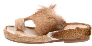 Christian Louboutin Fur-Trimmed Cromac Beach Sandals