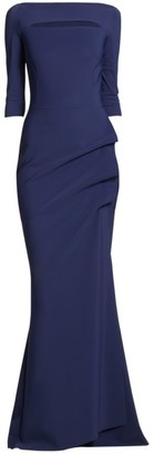 Chiara Boni Kate Slit-Detail Boatneck Gown