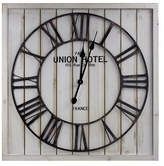 Asstd National Brand Union Hotel Paris White Wood and Metal Wall Clock, One Size , White