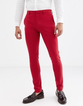 ASOS DESIGN super skinny suit pants in bright red