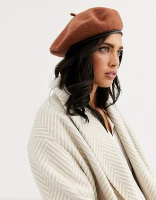 Asos Design DESIGN wool beret with bound edge in brown