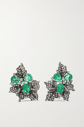 LORRAINE SCHWARTZ 18-karat Blackened White Gold, Emerald And Diamond Earrings - one size