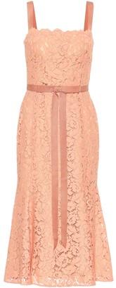 Oscar de la Renta Tie-waist lace midi dress