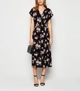 New Look Floral Shirred Waist Midi Wrap Dress