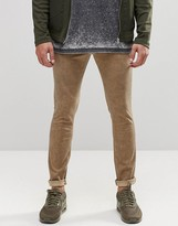 Asos Super Skinny Chinos In Khaki With Oil Wash