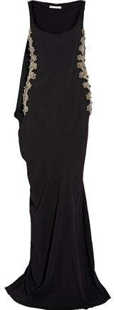 Antonio Berardi Cape-Detailed Embellished Tulle-Paneled Stretch-Cady Gown