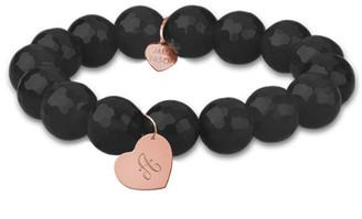 Jane Basch 14K Rose Gold Onyx Dangling Heart Initial Bracelet (A-Z)