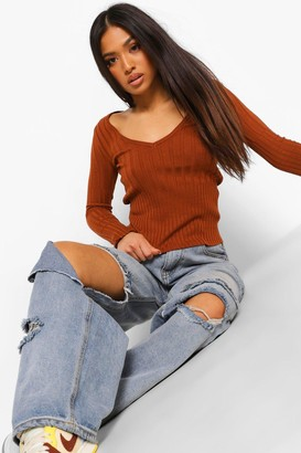 boohoo Petite Knitted Rib V Neck Top
