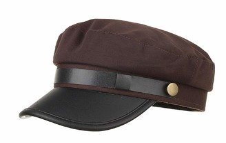 CHENNUO Military Cap Women Flat Cap Hat Mariner Barge Fiddler Cap Winter PU Leather Visors (Black)