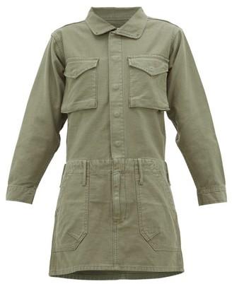 Frame Service Cotton-canvas Mini Dress - Womens - Khaki