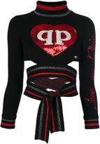 Philipp Plein heart patch tied top