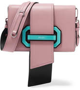 Prada Ribbon Plexi Leather Shoulder Bag - Pink