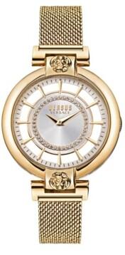 Versus By Versace Versus Women's Silver Lake Gold-Tone Stainless Steel Mesh Watch 36mm