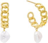 Adina's Jewels Imitation Pearl Hoop Earrings