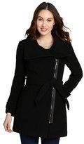 black wool-cashmere blend asymmetrical zip front coat