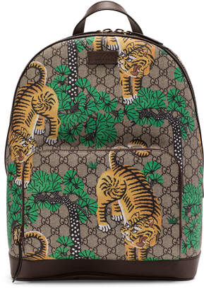 Gucci Tiger Print Backpack GG Supreme Monogram Brown/Green/Yellow