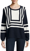 Two By Vince Camuto Petite Nautical Intarsia Blocked Sweater