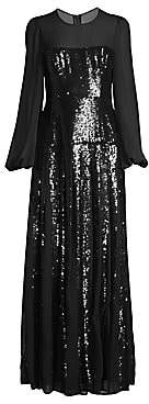 BCBGMAXAZRIA Women's Chiffon Sleeve Sequin Gown - Size 0