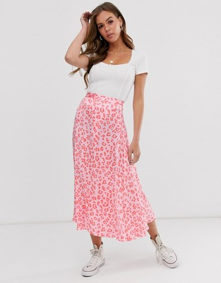 Ghost Tabitha cheetah print satin midi skirt