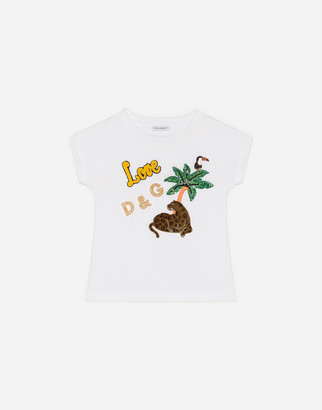 Dolce & Gabbana Jersey T-Shirt With Tropical Animal Patches
