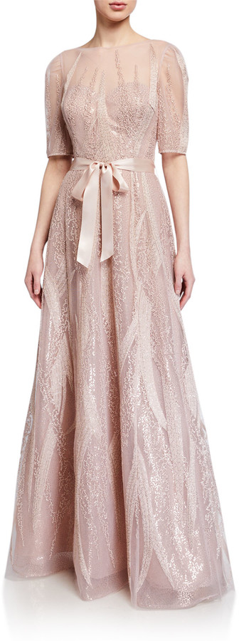 Rickie Freeman For Teri Jon Embroidered Tulle Elbow-Sleeve Gown