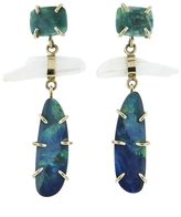Melissa Joy Manning Gem Chryscolla, American Natural Pearl, Opal Drop Earrings