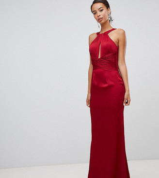 Little Mistress Tall satin maxi dress with keyhole and gathered detail