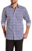 Bugatchi Air Blue Classic Fit Printed Shirt