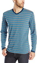 Agave Men's Earnest Long Sleeve V Neck Striped Tee