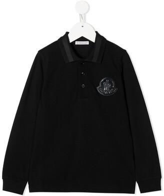 Moncler Enfant Logo-Patch Long Sleeved Polo Shirt