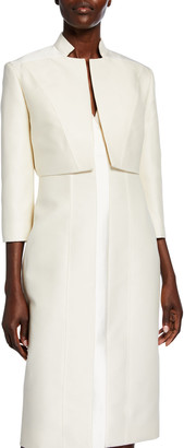 Atelier Caito For Herve Pierre Cropped Boxy Silk Jacket