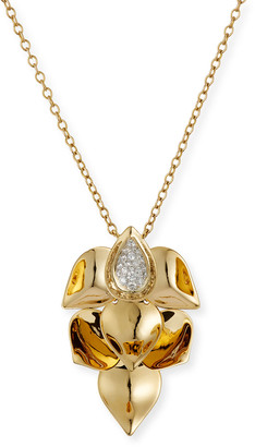 SUTRA 18K Yellow Gold Diamond-Center Lotus Leaf Necklace