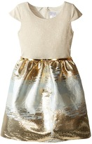 Us Angels Cap Sleeve Metallic Brocade Dress (Big Kids)