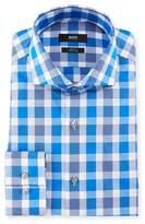 BOSS Slim Fit Easy Iron Large-Plaid Cotton Dress Shirt, Medium Blue