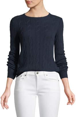 Ralph Lauren Long-Sleeve Crewneck Cable-Knit Cashmere Sweater