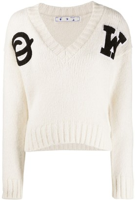 Off-White logo-patch V-neck jumper