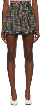 Versace Jeans Couture Multicolor Tweed Pleated Miniskirt