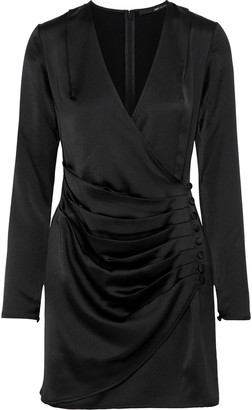 Jay Godfrey Wrap-effect Button-embellished Satin-crepe Mini Dress